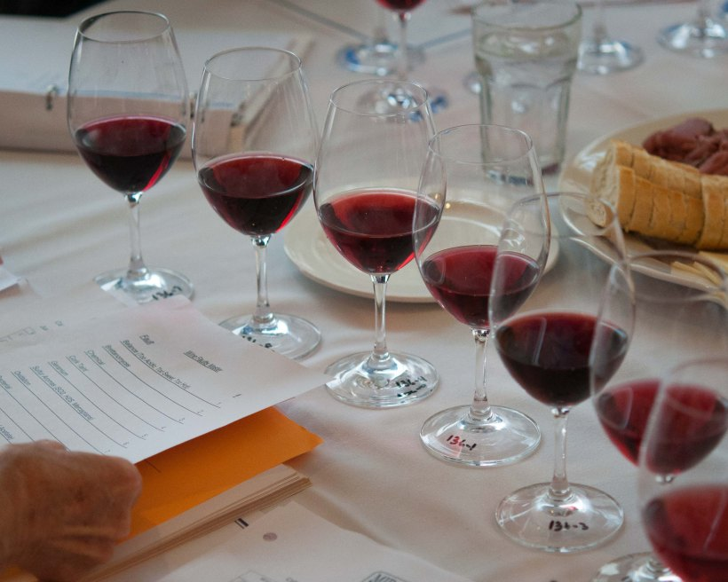 Each judge receives several wines to sample during a given round.