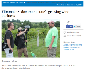 Wine Diamonds: Iowa Uncorked™ crew (Brad & Kirk) interview Fireside Winery winemaker, Zach Bott during annual iPick iStomp iDrink harvest event.