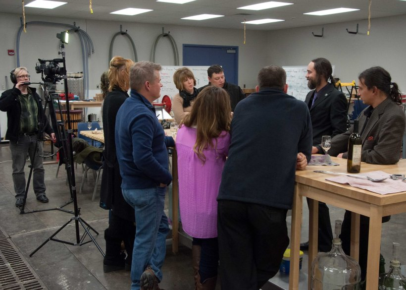 An impromptu wine appreciation class in the lab at Kirkwood.