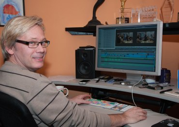 Kirk editing our pitch video.