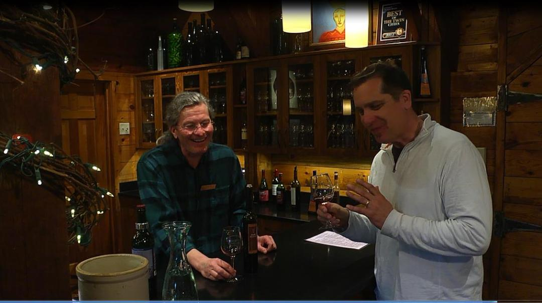 "David Melbey of Alexis Bailly Vineyard and Brad filming an ""on the road"" segment."