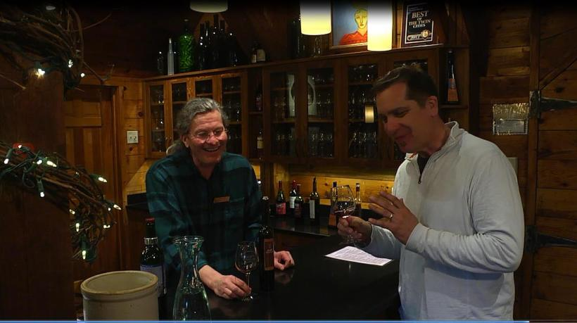 """David Melbey of Alexis Bailly Vineyard and Brad filming an """"on the road"""" segment."""